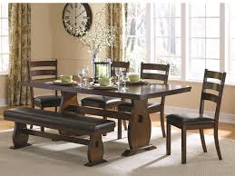 table 4 chairs and bench. coaster furniture 105341 105342 105343 6 pc dining set table 4 chairs plus bench - main and