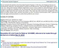 Ibm Employee Referral Drive Associate System Engineer
