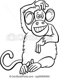 funny monkey character cartoon coloring book csp55636454