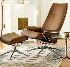 stressless city high back brown paloma leather recliner chair and ottoman by ekornes