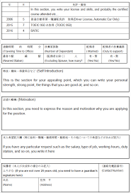 ... CV. As an example, I wrote it down in English to show what to write,  however, you would be asked to prepare it in Japanese when you apply for  the job.