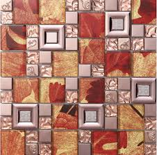Red crystal glass mosaice tile coating metal tile <b>304 stainless steel</b> ...