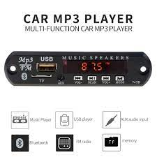 Máy nghe nhạc Mp3 Radio WMA kết nối Bluetooth hỗ trợ USB TF FM AUX 5-12V