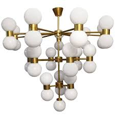 brass and white glass globe chandelier in stilnovo style for