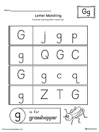Uppercase and Lowercase Letter Matching Letter G Worksheet