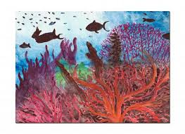 under the sea watercolor painting c reef painting ocean decor original