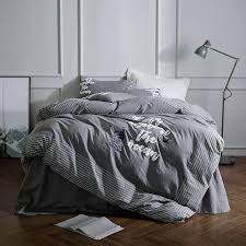 grey stripes bedding set queen size 800tc washed cotton comforter cover embroidered luxury bedroom home decor bed sheet set men king size comforter king
