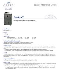 Freestyle Oxygen Concentrator Quick Reference Manualzz Com