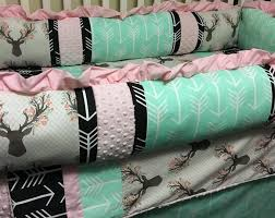 deer and arrows custom baby bedding baby girl bedding with mint pink and black