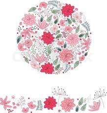 Cute Template Stylized Round Template With Cute Pink Stock Vector Colourbox