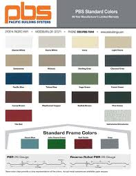 Steel Building Color Charts Pacific Building Systems