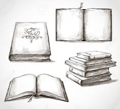 set of old books drawings pile of books open book stock vector 24632241
