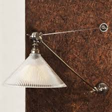 bare bulb lighting. NYX Adjustable Long Arm Bare Bulb Wall Light With Coolie Glass Shade - Antique Silver Lighting