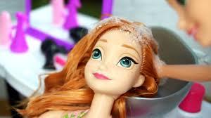 rapunzel barbie beauty salon makeover hair style on frozen anna disney princess dolls