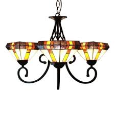 three light diamond shade stained glass tiffany chandelier with black finish