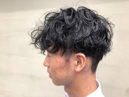 Mens Hair パーマブリーチ黒髪マッシュ刈り上げ Hair Ici
