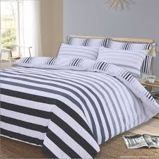 dreamscene stripe duvet cover with pillow case bedding set fade grey white black superking flubit