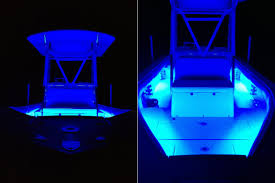 boat jet ski color changing weatherproof rgb led glow strip accent lighting kit installed on hull of boat