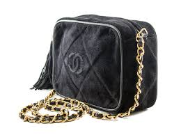 Authentic Chanel Quilted Gold-Chain Shoulder Bag Fringe Black ... & Authentic Chanel Quilted Gold-Chain Shoulder Bag Fringe Black Suede -  Connect Japan Luxury - Adamdwight.com
