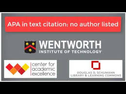 apa in text citation no author video