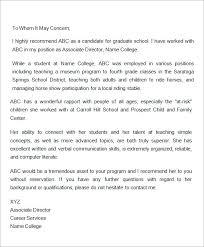 nursing school recommendation letter sample  cover letter templates letter of recommendation for graduate school from employer