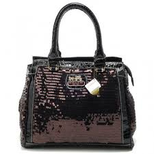 Coach Poppy In SequIn Signature Medium Coffee Totes AFI