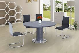 round high gloss glass dining and 6 grey with white chairs set