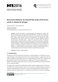 Feminism And Design Recommendations To Rebuild Feminist Work In Industrial