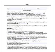 Mortgage Note Sample Template Business