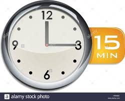 Start 15 Minute Timer Office Wall Clock Timer 15 Minutes Vector Illustration