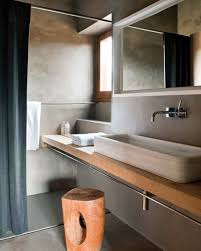 small bathroom design with unique wooden bench rectangle vanity and grey wall decor with shower room image