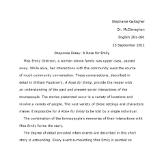response essay william faulkners a rose for emily university document image preview