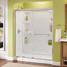 semi frameless traditional sliding shower door in