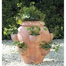 Terra Cotta Round Fishbowl Tascandi Strawberry Jar Planter - Set of 2 |  Hayneedle