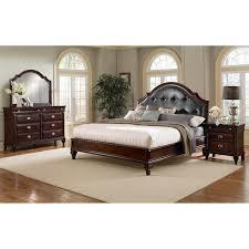 Bedroom Furniture   Manhattan 6 Piece King Upholstered Bedroom Set   Cherry