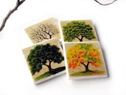 Decorative Tile Coasters Four Season Coasters 100 Seasons Oak Tree Table Decor Decorative 89