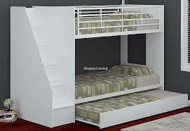 white wooden bunk beds with storage and trundle
