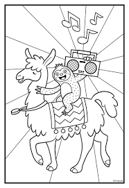 Print the coloring objects for kids to learn & color. Sloths Love Llamas Boombox Coloring Page Crayola Com