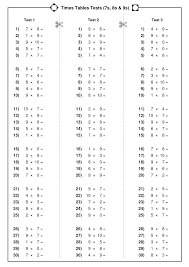 times tables tests x7x8x9