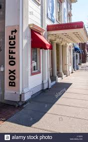 outside the box office. A Sign Directs Patrons To The Box Office Window Outside Royal George Theatre In Niagara E