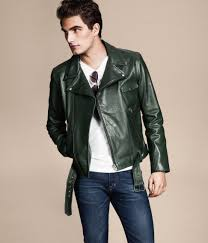 h m leather jacket in green for men lyst