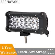 Led Lights How They Work 72w Tri Row 7inch Led Light Bar Dual Colors With Strobe Style Led Work Light Bar For 12v Truck Suv Atv 4wd 4x4 Led Lighting Source Led Lights From