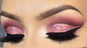 pink glitter cut crease makeup tutorial