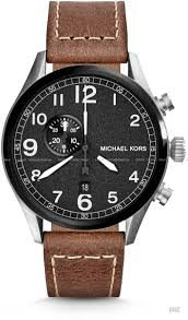 michael kors mk7068 hangar men s watch leather strap brown
