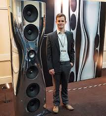 kef muon speakers. kef demonstrated a revamped version of its iconic muon flagship speaker to packed house. seen below with jack oclee-brown, head acoustics at the kef speakers