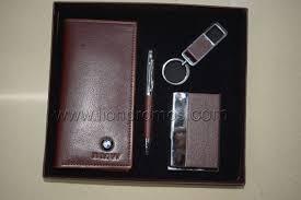 custom logo embossed leather gifts set notebook pen keyring business card holder gifts set