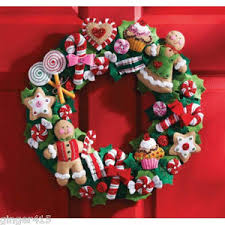 Image is loading Bucilla-Gingerbread-COOKIES-AND-CANDY-Felt-CHRISTMAS-WREATH -