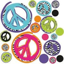 Zebra Print Peace Sign Wall Decor ZEBRA print PEACE SIGNS wall stickers 100 funky mod decals teen's 2