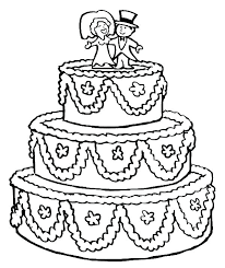 Cake Coloring Pages Coloring Cake Beautifully Decorated Wedding Cake