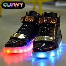 light up shoes led black and gold